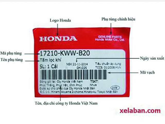 Trên bao bì lọc gió Sh luôn có tem chính hiệu Honda