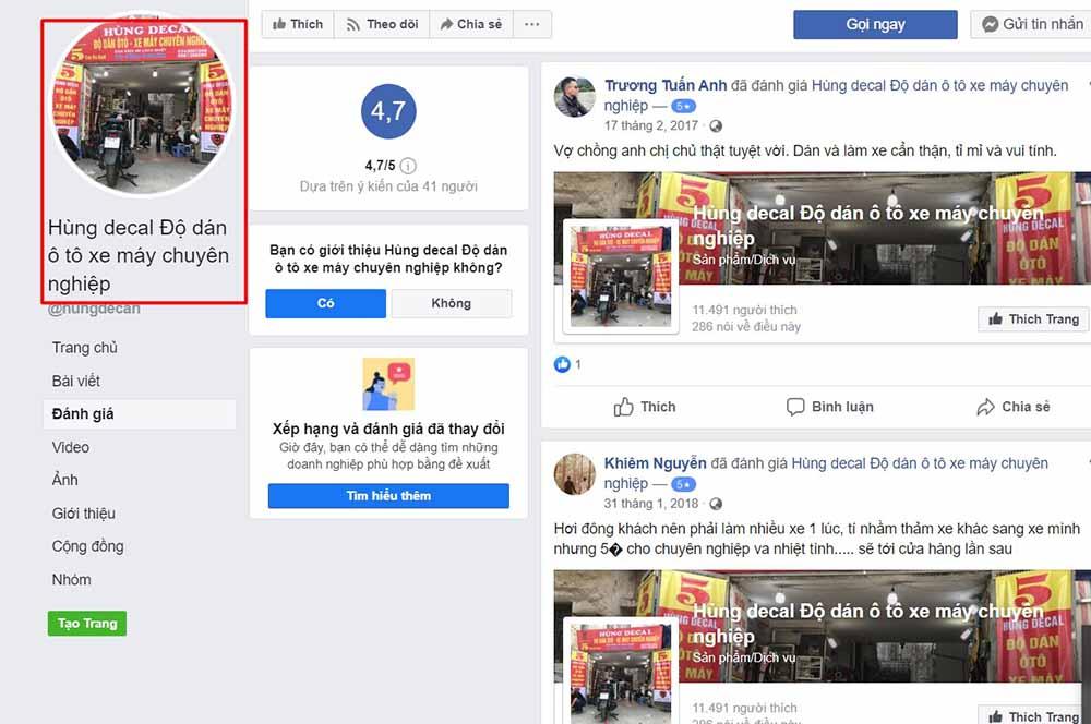 Review tích cực của khách hàng trên FanPage Hùng Decal