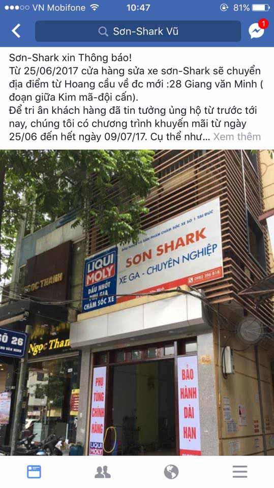Sơn Shark là địa chỉ bảo dưỡng xe thu hút đông đảo khách hàng xe Sh