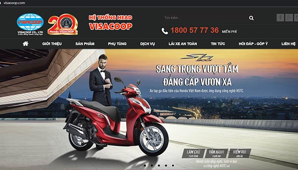 Giao diện website HONDA VISACOOP