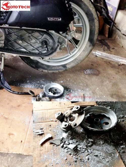 Xe Honda Sh phần côn vỡ vụ vì chủ nhân lâu không chú ý đến xe