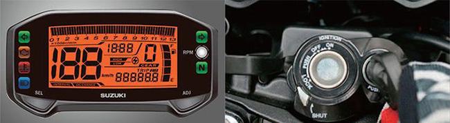 Bảng đồng hồ LCD và ổ khóa cơ 3 trong 1 của Suzuki Raider R150