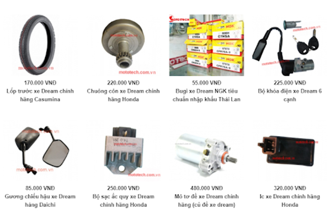 bảng giá phụ tùng xe Dream Thái trên website Mototech
