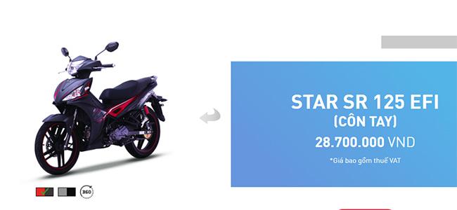 Giá bán đề xuất của mẫu xe SYM Star SR 125 EFI trên website chính thức của SYM